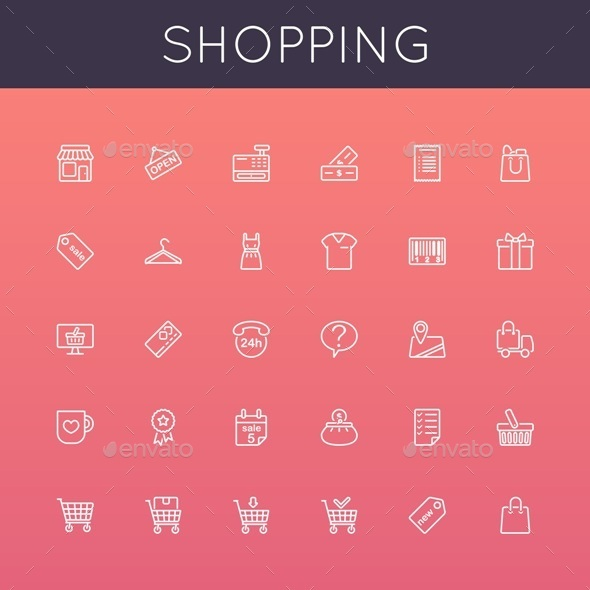 GraphicRiver Vector Shopping Line Icons 8951502
