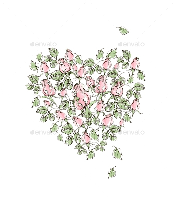 GraphicRiver Vector Illustration Hand Drawing Gentle Pink Roses 8951539