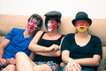 Funny people with painted flags on faces - PhotoDune Item for Sale