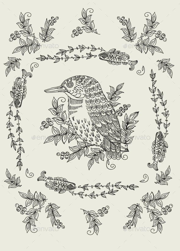 GraphicRiver Vector Pattern with Birds and Flowers 8952416
