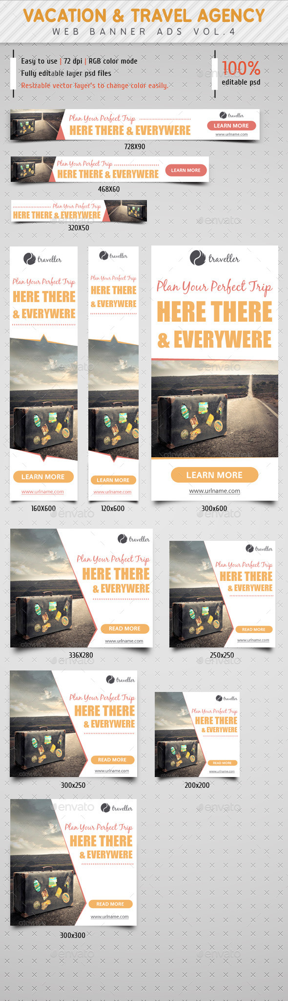 GraphicRiver Vacation & Travel Agency Ads Vol.4 8952474