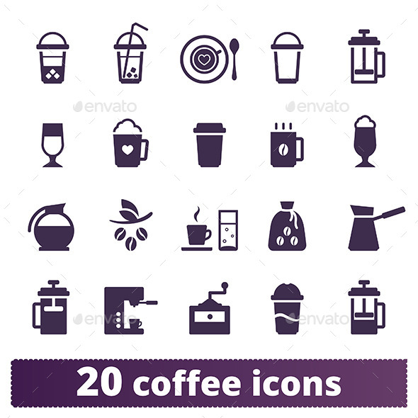 GraphicRiver Coffee Icons Vector Set 8952505