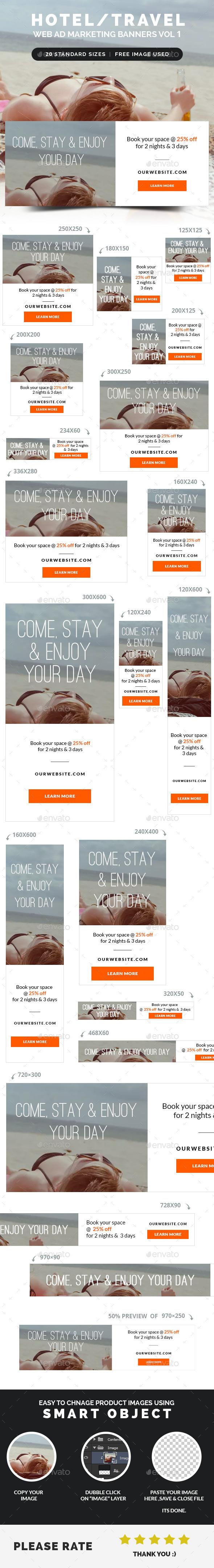 GraphicRiver Hotel Travel Web Ad Marketing Banners Vol 1 8952771