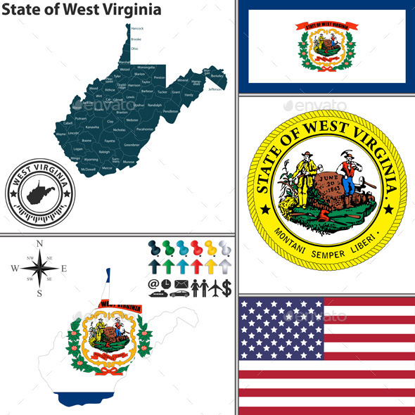 GraphicRiver Map of state West Virginia USA 8952860