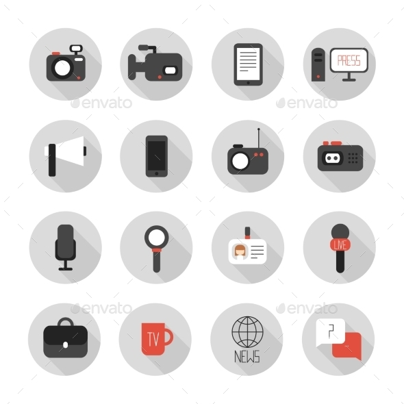 GraphicRiver Set of Flat Colorful Vector Journalism Icons 8953417