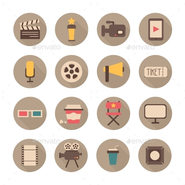 GraphicRiver Set of Movie Design Elements and Cinema Icons 8953421