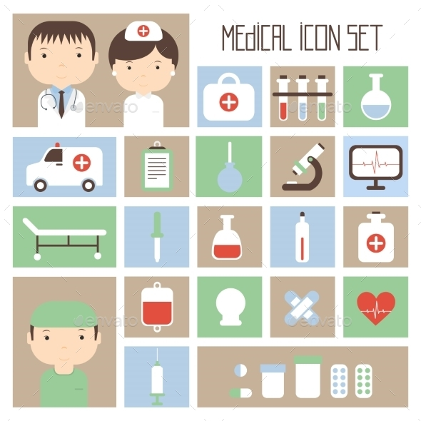GraphicRiver Medical and Health Vector colorful Icons Set 8953569