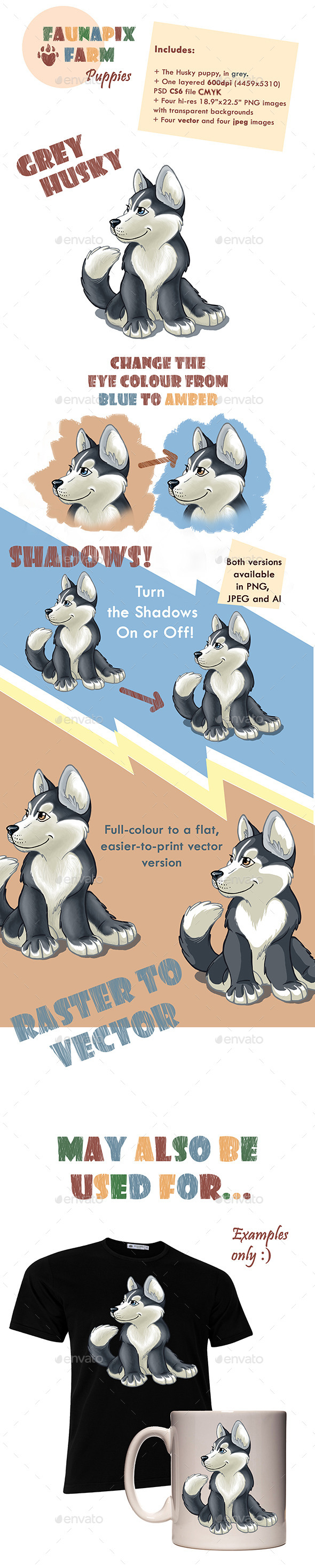 GraphicRiver Grey Husky Pup Illustration 8954615