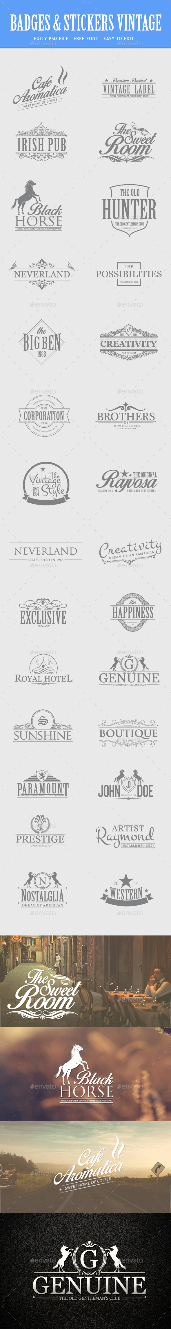 GraphicRiver Bundle Vintage Retro Logo Badges 8954800