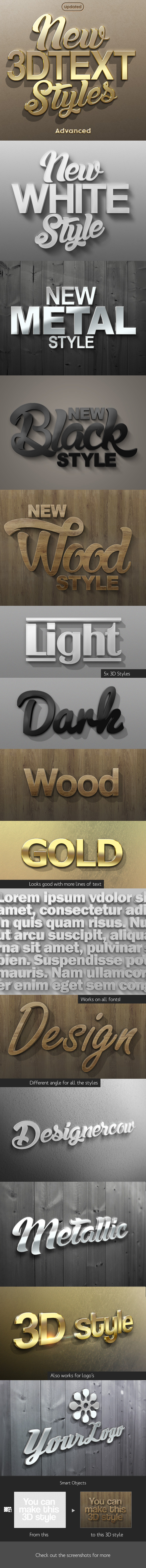 New 3D Text Styles Advanced - Styles Photoshop