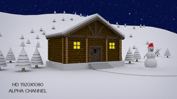 Winter Log Cabin Door Open