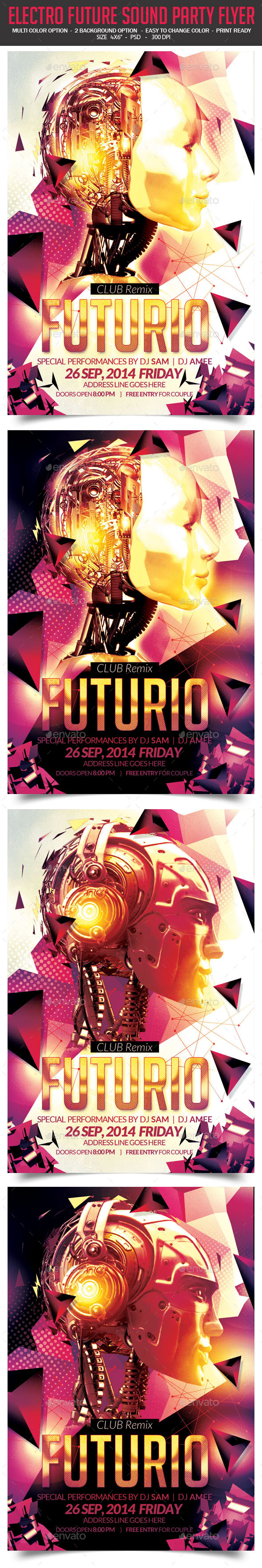 GraphicRiver Electro Future Sound Party Flyer 8955942
