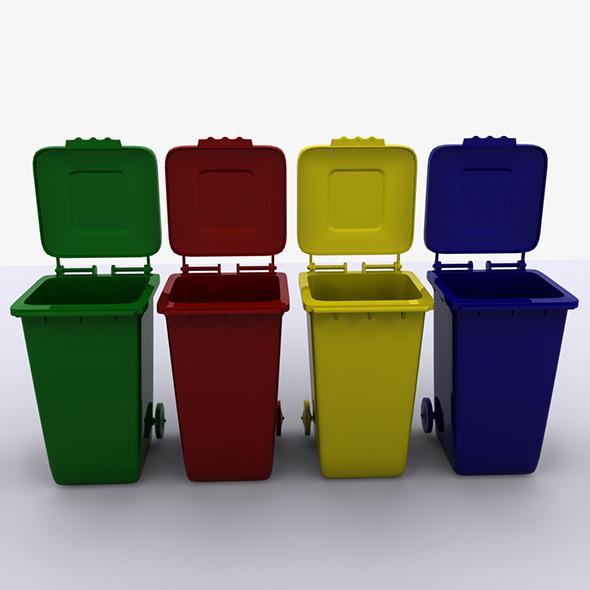 3DOcean Rolling Trash Bin 8956677