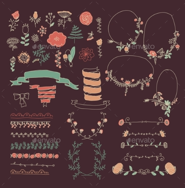 GraphicRiver Big Set of Floral Graphic Design Elements 8956829
