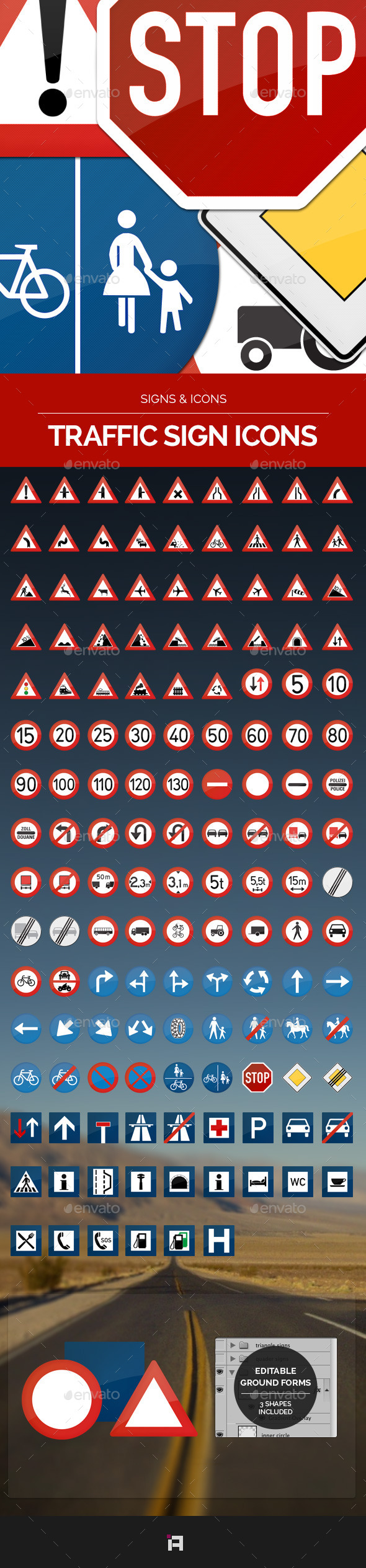 Traffic Sign Icons - Vol.1 - Man-made objects Objects