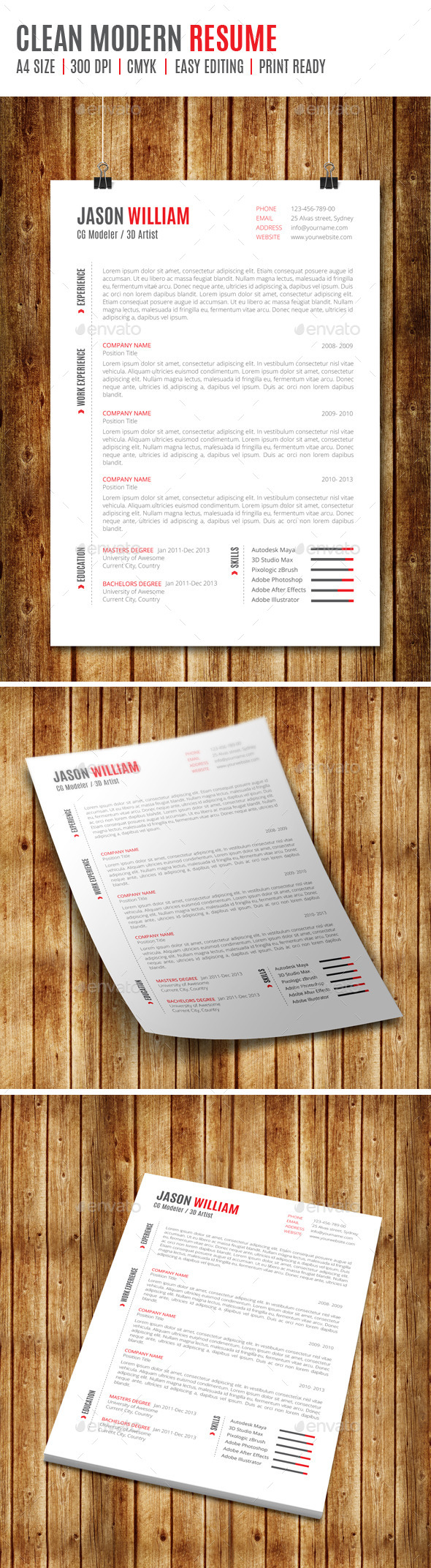 GraphicRiver Clean Modern Resume 8957947