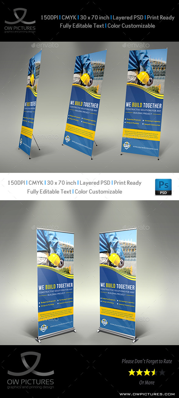GraphicRiver Construction Business Signage Rollup Template Vol2 8959377