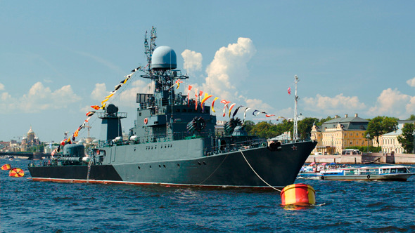 Military Ship On Neva River St Petersburg