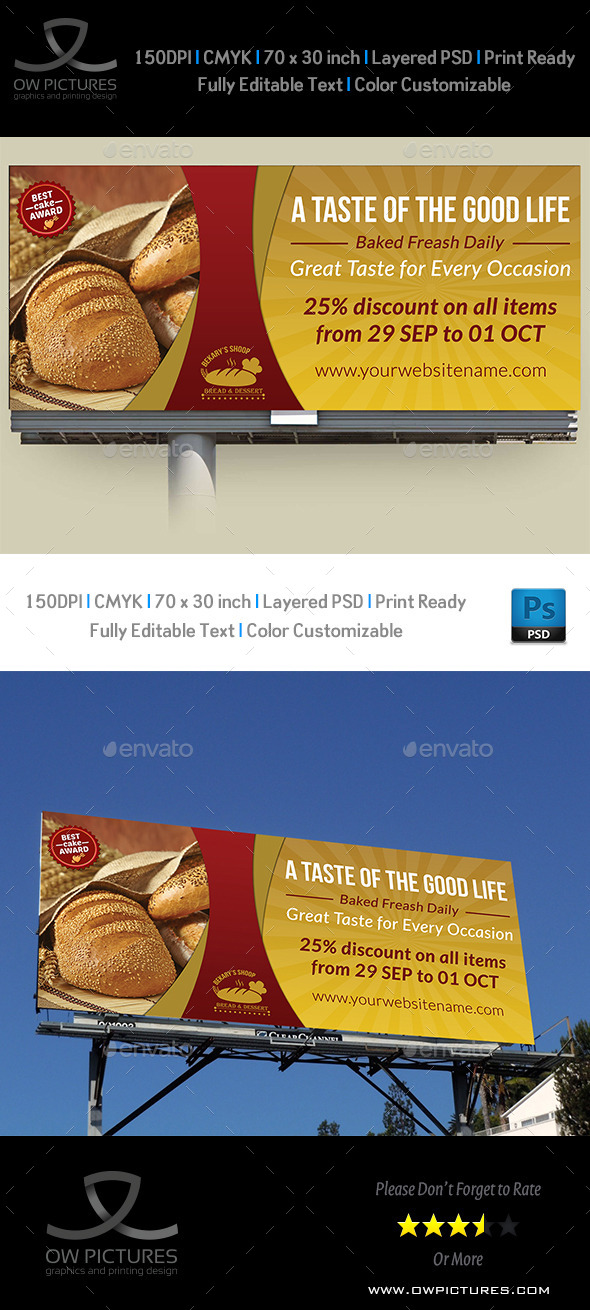 GraphicRiver Bakery Billboard Banner Template 8960239
