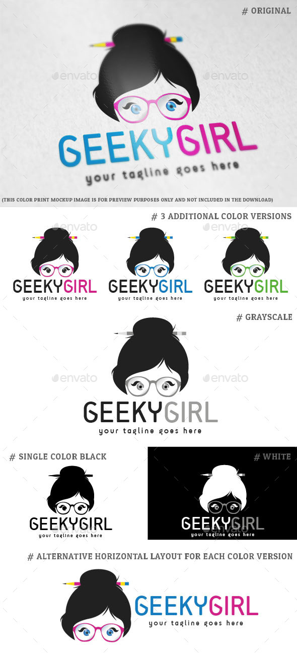 GraphicRiver Geeky Girl Logo Template 8960259