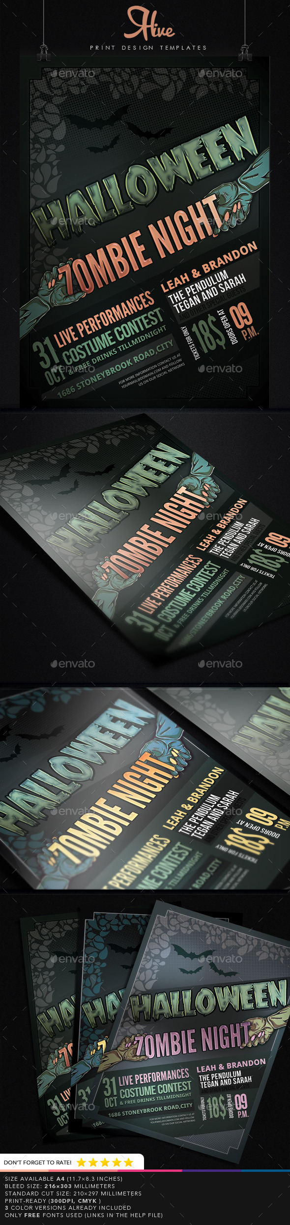 GraphicRiver Halloween Zombie Night Flyer 8960821