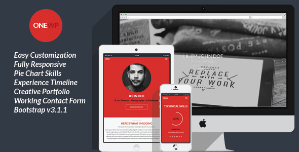 ThemeForest One Wordpress Responsive Personal Resume 8896700