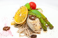 baked fish with spaghetti and mushrooms and vegetables - PhotoDune Item for Sale