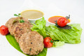 vegetarian meatballs with salad on a white background in restaurant - PhotoDune Item for Sale