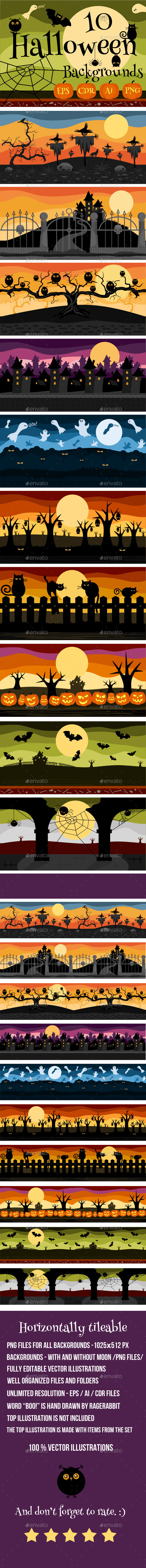 GraphicRiver 10 Halloween Game Backgrounds 8961841
