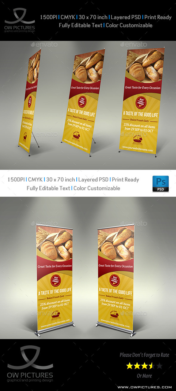 GraphicRiver Bakery Signage Roll Up Banner Template 8962077