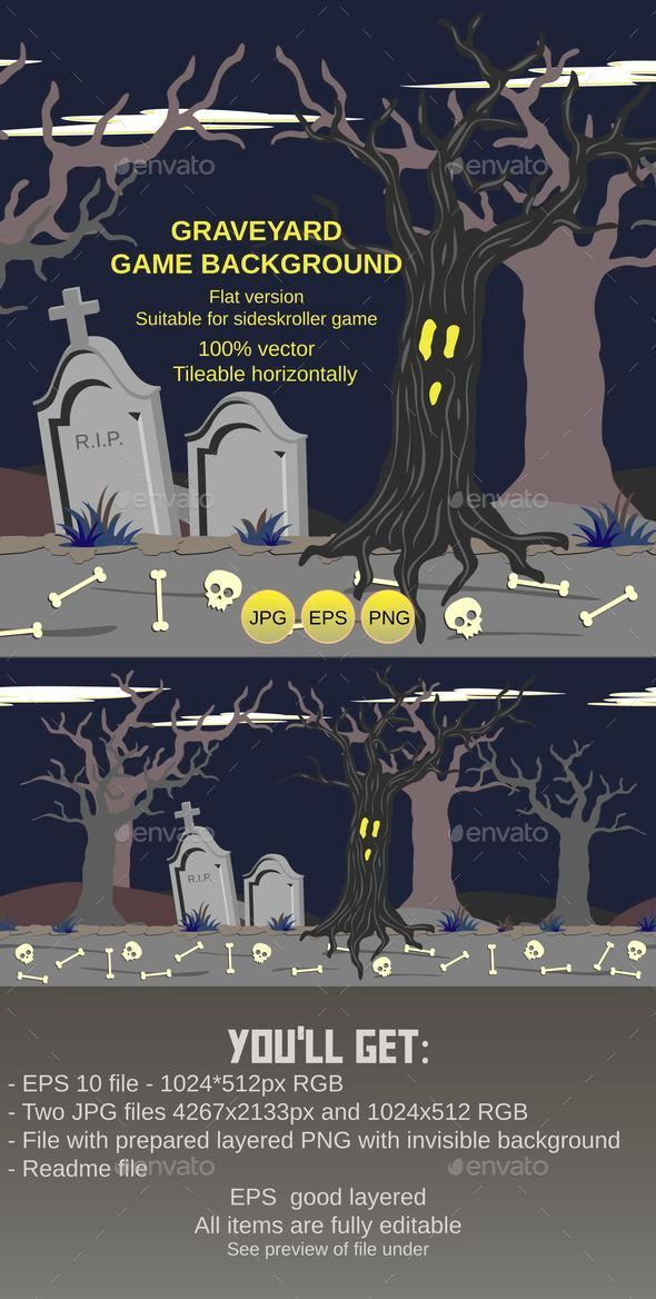 GraphicRiver Graveyard Game Background 8962168