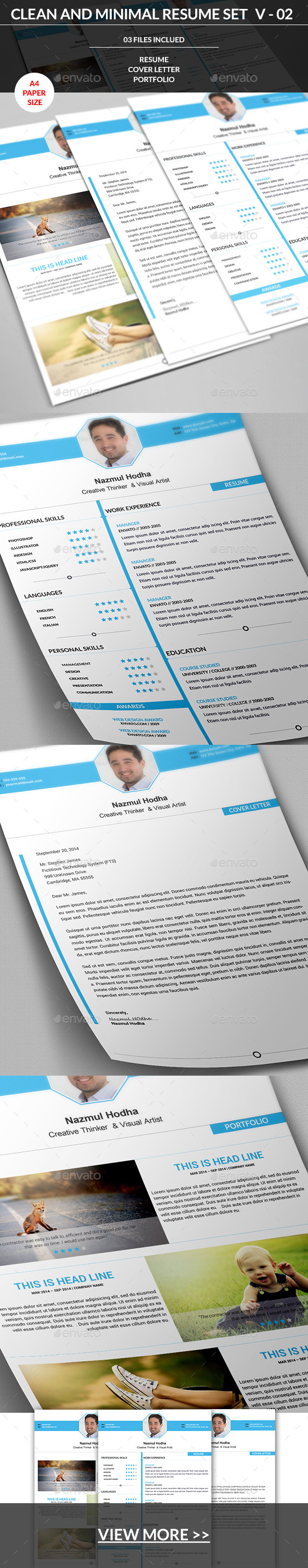 GraphicRiver Clean and Minimal Resume Set V-02 8962326