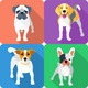 Vector Set Dog Icon Flat Design  - GraphicRiver Item for Sale