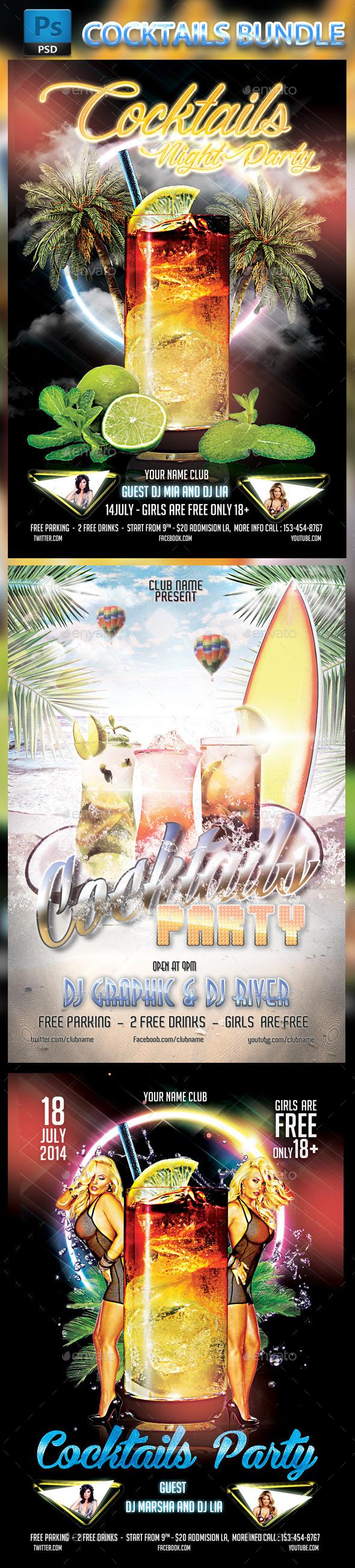 GraphicRiver Bundle Cocktails Party 8950626