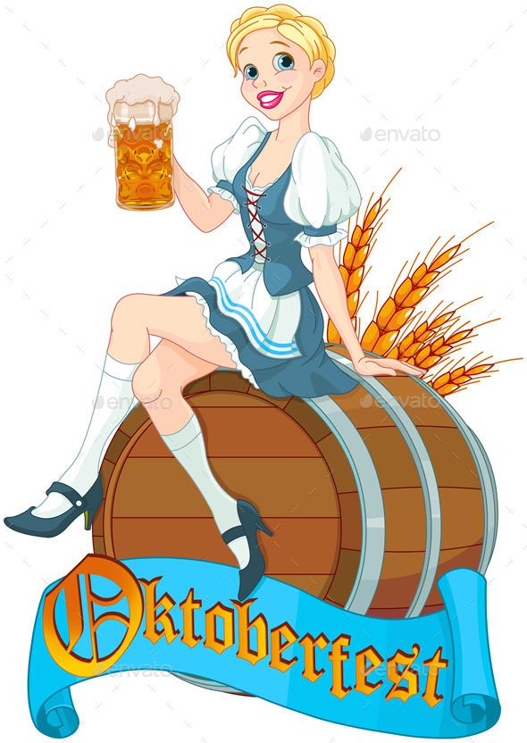 GraphicRiver Oktoberfest Girl on the Keg 8967371
