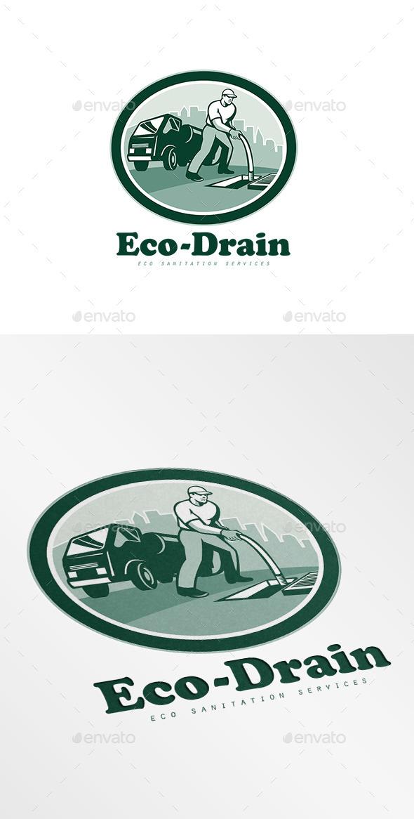 GraphicRiver Eco-Drain Sanitation Services Logo 8967385