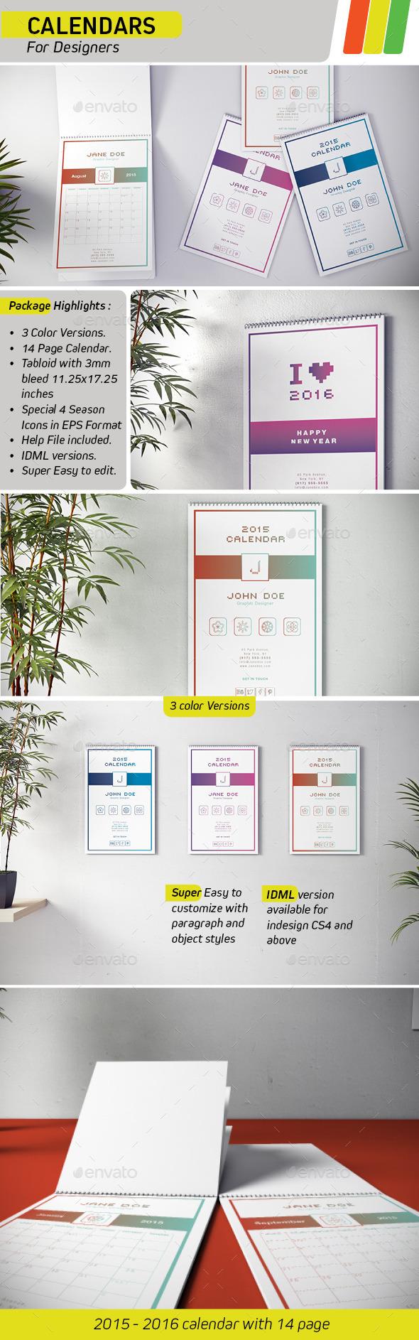 GraphicRiver Calendar 2015 for Designers 8929204