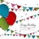 Birthday Card with Balloons and Bunting Flags. - GraphicRiver Item for Sale