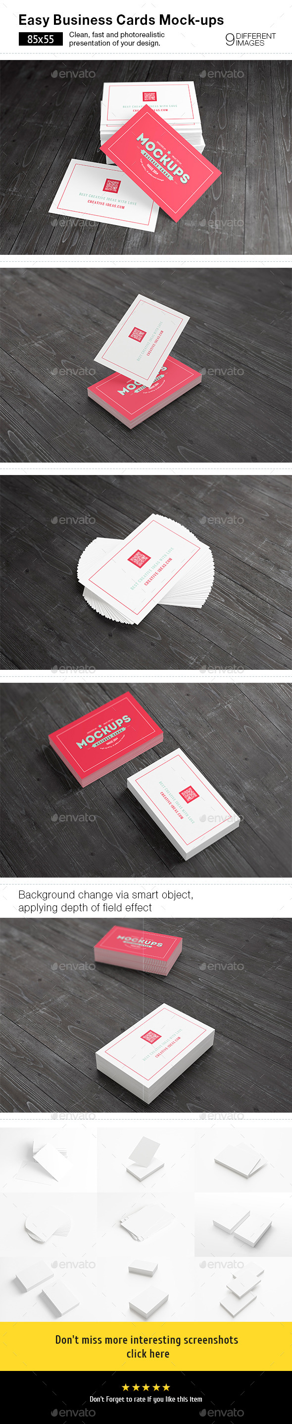 GraphicRiver [85x55] Business Cards Mock-ups 8968589