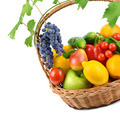 fruits and vegetables in a wicker basket isolated on white backg - PhotoDune Item for Sale