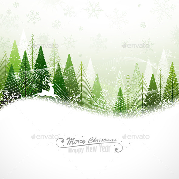 GraphicRiver Christmas Background with Reindeer 8969037