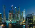 General view of Dubai Marina at night from the top - PhotoDune Item for Sale