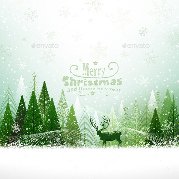 GraphicRiver Christmas Background with Reindeer 8969104