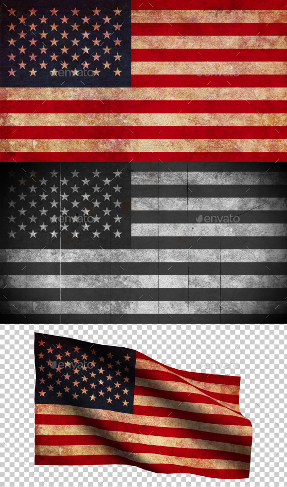 GraphicRiver American Flag Grunge and Retro 8969253