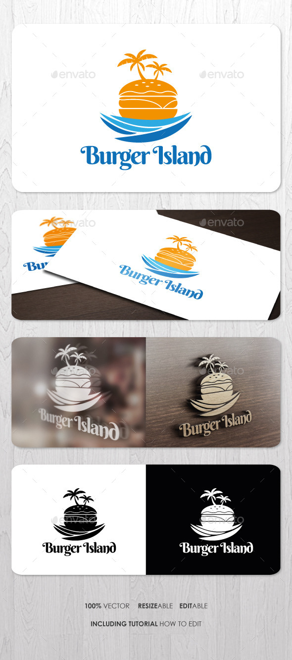 GraphicRiver Burger Island Logo 8970628