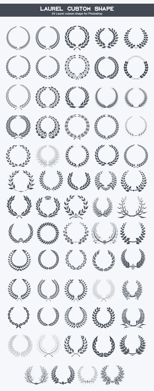 GraphicRiver 64 Laurel Wreats Custom Shape Icons 8970643