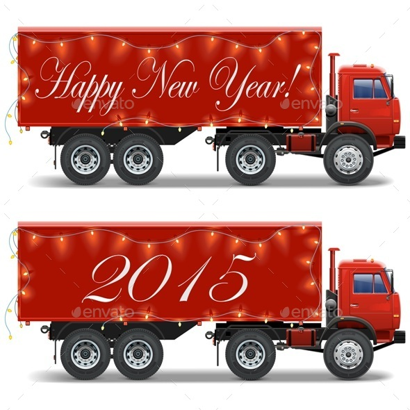 GraphicRiver Vector Christmas Truck 8971406