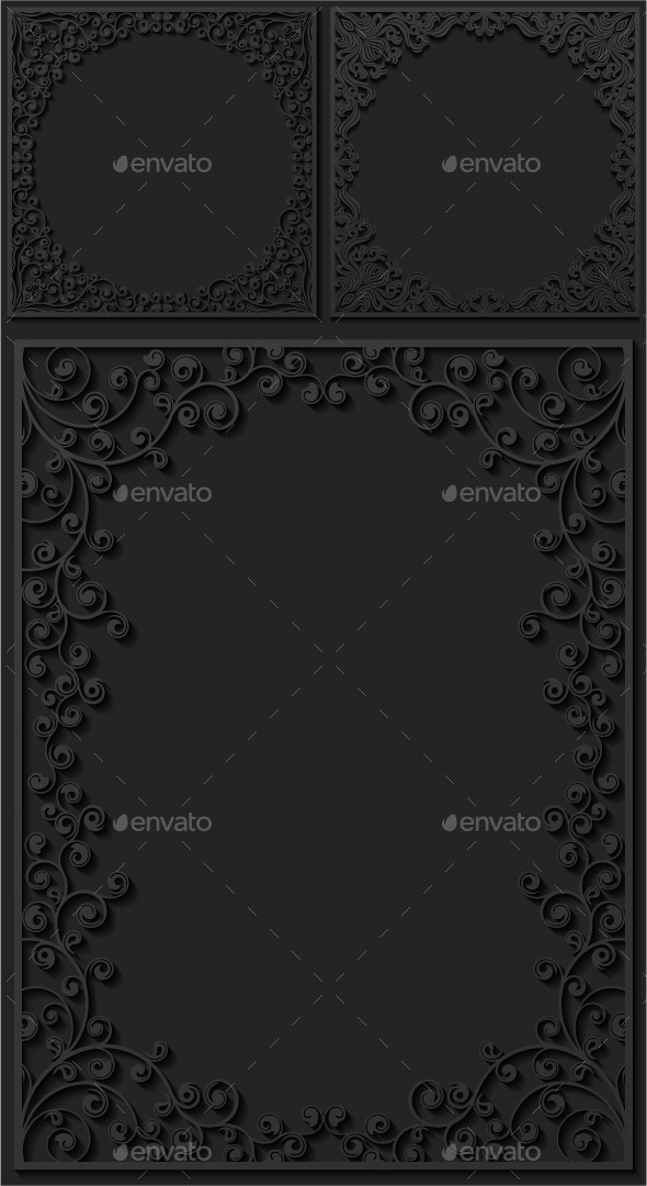 GraphicRiver Set of Paper Floral Frames 8971514