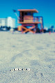 Miami South beach, lifeguard house with letters on the sand - PhotoDune Item for Sale