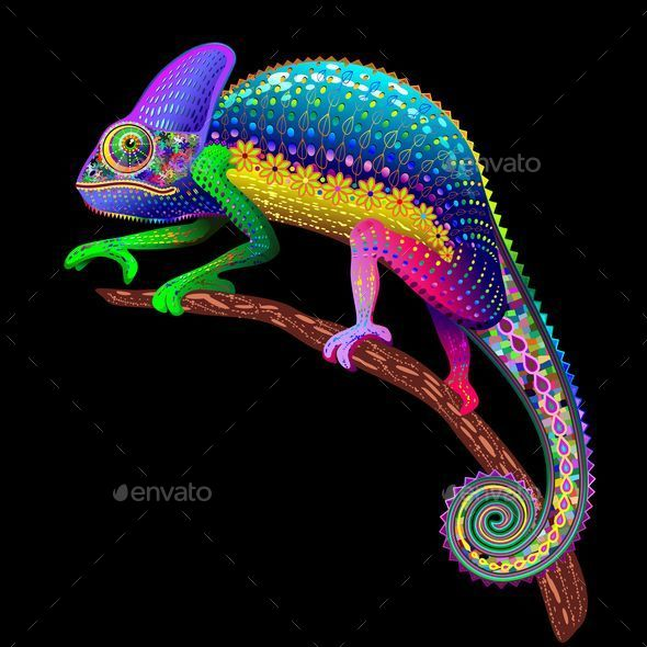 GraphicRiver Chameleon Fantasy Rainbow Colors 8971532
